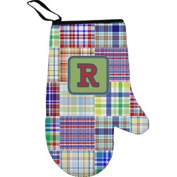 Blue Madras Plaid Print Right Oven Mitt (Personalized)