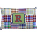 Blue Madras Plaid Print Pillow Case (Personalized)