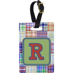 Blue Madras Plaid Print Rectangular Luggage Tag (Personalized)