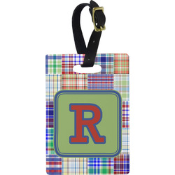 Blue Madras Plaid Print Rectangular Luggage Tag (Personalized)