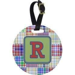 Blue Madras Plaid Print Round Luggage Tag (Personalized)