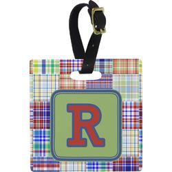 Blue Madras Plaid Print Square Luggage Tag (Personalized)
