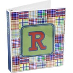 Blue Madras Plaid Print 3-Ring Binder (Personalized)