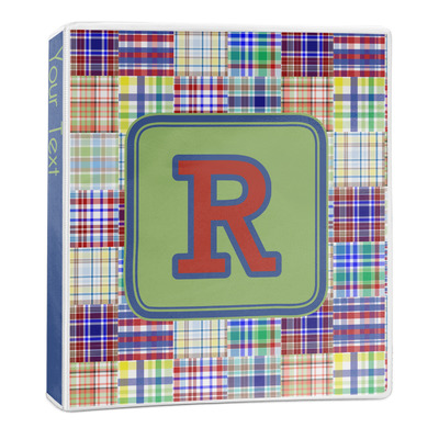 Blue Madras Plaid Print 3-Ring Binder - 1 inch (Personalized)