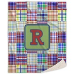 Blue Madras Plaid Print Sherpa Throw Blanket (Personalized)