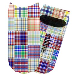 Blue Madras Plaid Print Adult Ankle Socks (Personalized)