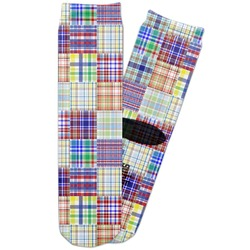 Blue Madras Plaid Print Adult Crew Socks (Personalized)