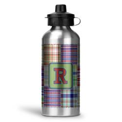 Blue Madras Plaid Print Water Bottle - Aluminum - 20 oz (Personalized)