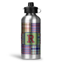 Blue Madras Plaid Print Water Bottle - Aluminum - 20 oz (Personalized)