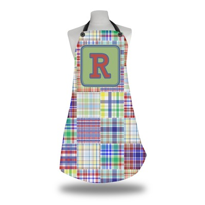 Blue Madras Plaid Print Apron (Personalized)