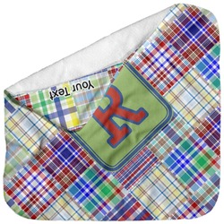 Blue Madras Plaid Print Baby Hooded Towel (Personalized)