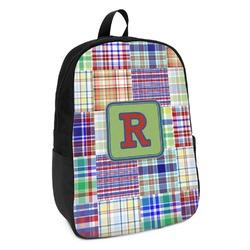 Blue Madras Plaid Print Kids Backpack (Personalized)
