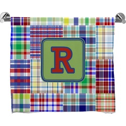 Blue Madras Plaid Print Full Print Bath Towel (Personalized)
