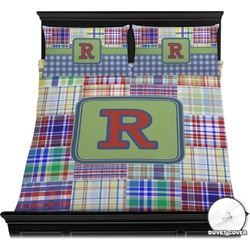 Blue Madras Plaid Print Duvet Cover Set (Personalized)