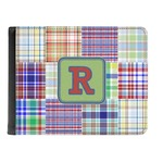 Blue Madras Plaid Print Genuine Leather Men's Bi-fold Wallet (Personalized)