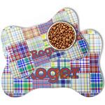 Blue Madras Plaid Print Bone Shaped Dog Food Mat (Personalized)