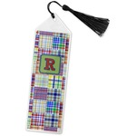 Blue Madras Plaid Print Book Mark w/Tassel (Personalized)