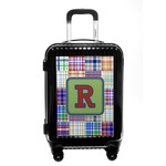 Blue Madras Plaid Print Carry On Hard Shell Suitcase (Personalized)