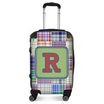 Blue Madras Plaid Print Suitcase (Personalized)