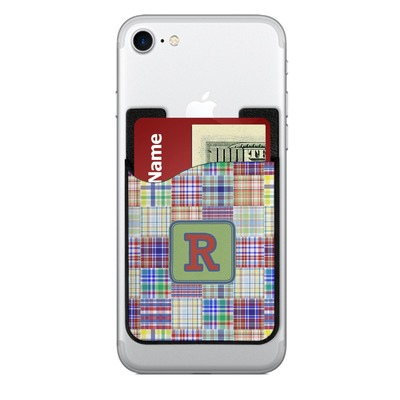 Blue Madras Plaid Print 2-in-1 Cell Phone Credit Card Holder & Screen Cleaner (Personalized)