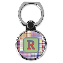 Blue Madras Plaid Print Cell Phone Ring Stand & Holder (Personalized)