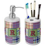Blue Madras Plaid Print Ceramic Bathroom Accessories Set (Personalized)