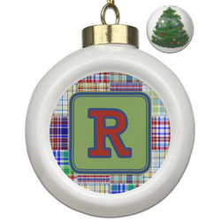 Blue Madras Plaid Print Ceramic Ball Ornament - Christmas Tree (Personalized)