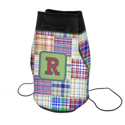 Blue Madras Plaid Print Neoprene Drawstring Backpack (Personalized)