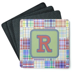 Blue Madras Plaid Print 4 Square Coasters - Rubber Backed (Personalized)