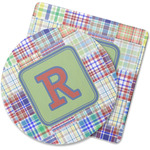 Blue Madras Plaid Print Rubber Backed Coaster (Personalized)