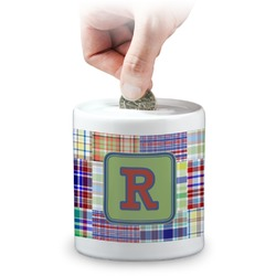 Blue Madras Plaid Print Coin Bank (Personalized)