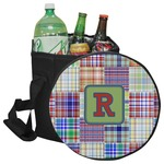 Blue Madras Plaid Print Collapsible Cooler & Seat (Personalized)