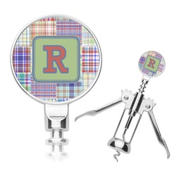 Blue Madras Plaid Print Corkscrew (Personalized)