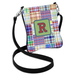 Blue Madras Plaid Print Cross Body Bag - 2 Sizes (Personalized)