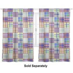 "Blue Madras Plaid Print Curtains - 40""x63"" Panels - Lined (2 Panels Per Set) (Personalized)"