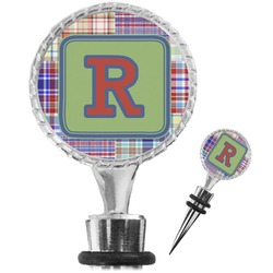 Blue Madras Plaid Print Wine Bottle Stopper (Personalized)