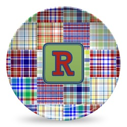 Blue Madras Plaid Print Microwave Safe Plastic Plate - Composite Polymer (Personalized)