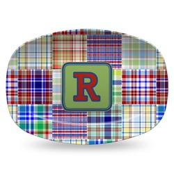 Blue Madras Plaid Print Plastic Platter - Microwave & Oven Safe Composite Polymer (Personalized)
