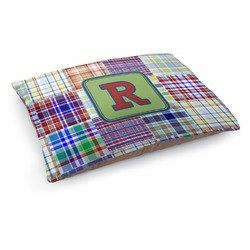 Blue Madras Plaid Print Dog Pillow Bed (Personalized)
