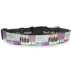 """Blue Madras Plaid Print Deluxe Dog Collar - Double Extra Large (20.5"""" to 35"""") (Personalized)"""