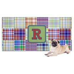 Blue Madras Plaid Print Dog Towel (Personalized)