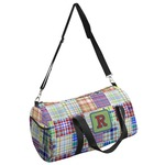Blue Madras Plaid Print Duffel Bag (Personalized)
