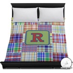 Blue Madras Plaid Print Duvet Cover (Personalized)
