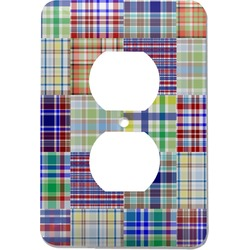 Blue Madras Plaid Print Electric Outlet Plate (Personalized)