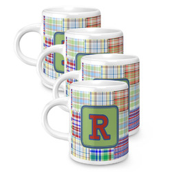 Blue Madras Plaid Print Espresso Mugs - Set of 4 (Personalized)