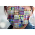 Blue Madras Plaid Print Face Mask Cover (Personalized)