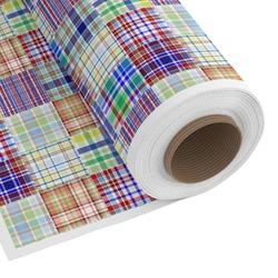 Blue Madras Plaid Print Custom Fabric - Spun Polyester Poplin (Personalized)