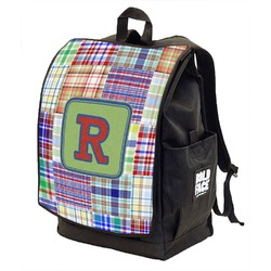Blue Madras Plaid Print Backpack w/ Front Flap  (Personalized)