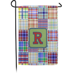 Blue Madras Plaid Print Garden Flag - Single or Double Sided (Personalized)