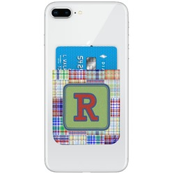Blue Madras Plaid Print Genuine Leather Adhesive Phone Wallet (Personalized)